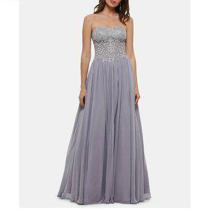 Blondie Nites  0 Gray Strapless Gown CA21